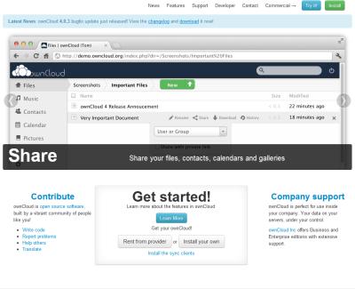 図3 ownCloudのWebサイト