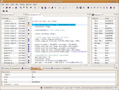 図1 GUIによるリモートデバッグが行える「インテル アプリケーション・デバッガー」