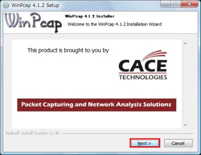 図4 WinPcapのインストーラが表示されたら「Next」をクリックしてインストールしよう