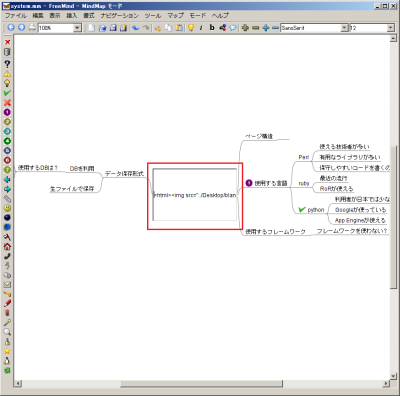 画像が挿入されたノードはHTML形式で内容が記述される