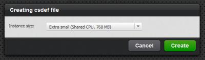 図39 csdefファイルの作成時にはインスタンスサイズの選択が求められる