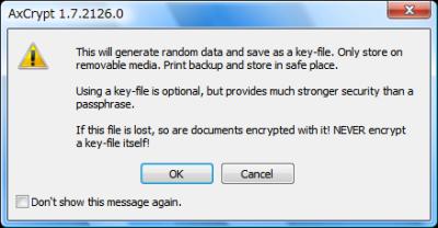 図15 コンテキストメニューからキーファイルの作成を選ぶと注意画面が表示されるので「OK」をクリックして保存しよう