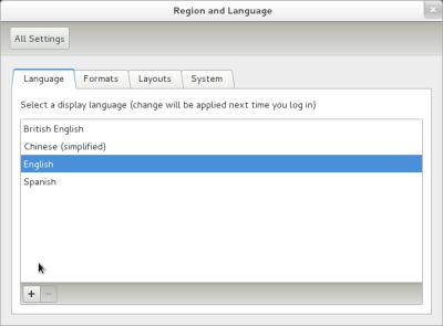 図9 「Lanuage」タブで利用する言語を指定する