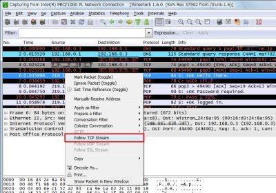 図14 Follo TCP Stream機能はパケットの右クリックから利用できる