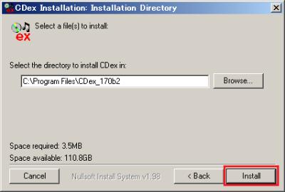 インストール先を指定する。問題がなければそのまま「Install」をクリックする