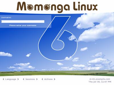 図4 Momonga Linuxのログイン画面