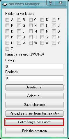図10 NoDrives Managerを起動し「Set/change password」をクリックする