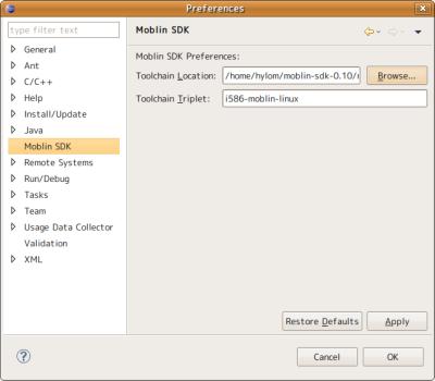 図16 Eclipseの「Preferences」ウィンドウで「Moblin SDK」の設定を行っておく。「Toolchain Location」に適切なディレクトリを設定しておこう