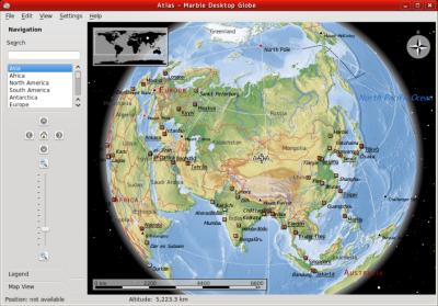 図9 地球儀アプリケーション「Marble」