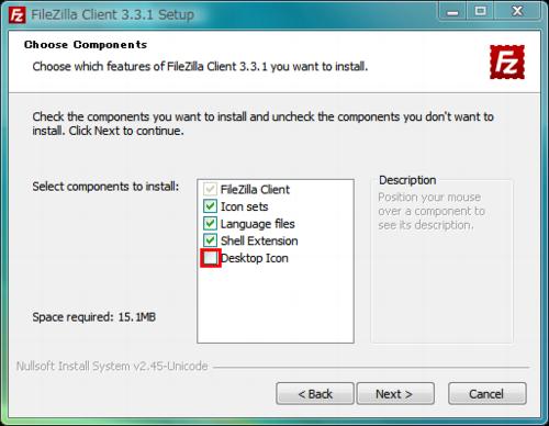 図3 デスクトップにショートカットが必要な場合は「Desktop Icon」にチェックを入れよう