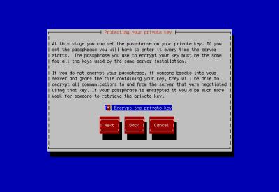 図23 秘密鍵を暗号化する場合、「Encrypt the private key」にチェックを入れる