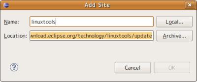 図8 「Name」欄に「linuxtools」など、適当な名称を入力して「OK」をクリックする