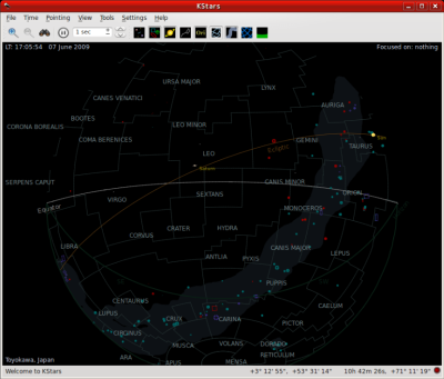 図10 プラネタリウムソフト「KStars」