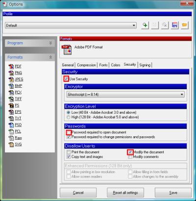 図17 Securityタブでパスワード保護の有無を指定する