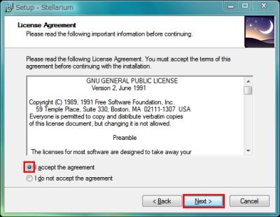図3 「I accept the agreement」を選んでから「Next」をクリックしていく