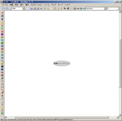 FreeMindの起動画面。中央にマインドマップの起点となるノードが表示される