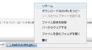 図3 右クリックで表示されるショートカットメニューではリネームやダウンロード元のURLのコピー、ファイルの削除、バーからの削除、ファイルを含むフォルダを開く、といった操作を実行できる