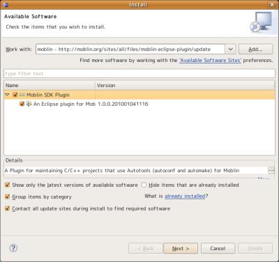 図11 「Moblin SDK Plugin」にチェックを入れて「Next」をクリックする