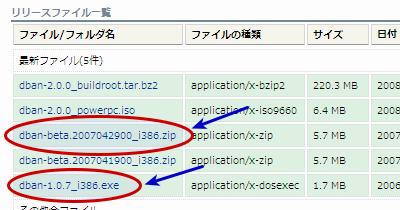 図2 DBANのダウンロードページ。「dban-1.0.7_i386.exe」か「dban-beta.2007042900_i386.zip」をダウンロードする