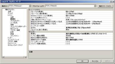 図8 インテル C++ コンパイラの最適化オプション設定(並列化あり)