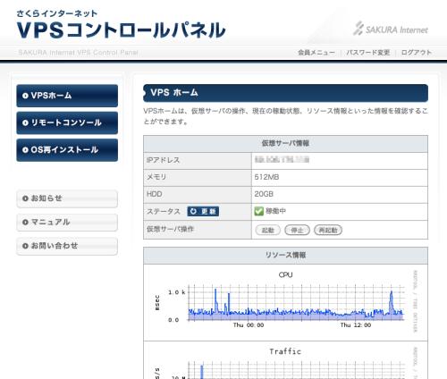 図1 提供される「VPSコントロールパネル」
