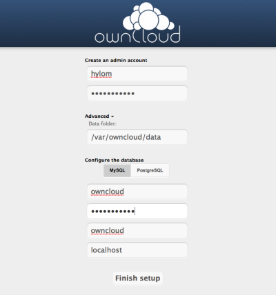 図26 管理者アカウントやアクセスに使用するデータベースのユーザー名などを入力する