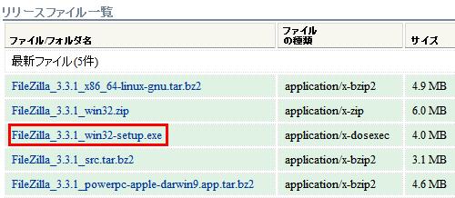 図2 「FileZilla_<バージョン番号>_win32-setup」が目的のインストーラ版だ