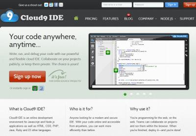 図20 Cloud9 IDEのアカウント作成はトップページの「Sign up」ボタンから行える