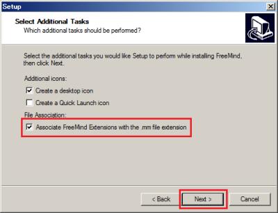 オプション設定では.mm(FreeMind保存ファイルに付けられる拡張子)ファイルに関連付けを行うかどうかを選択できる。通常はそのままでOK