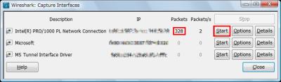 図6 「Packets」が増加しているインターフェースの「Start」をクリックすればキャプチャできる