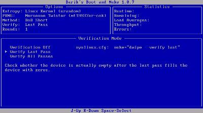 図12 ベリファイの設定画面。「Verification OFF」はベリファイしない、 「Verification Last Pass」は最終試行時のみベリファイする、 「Verification All Passes」は全試行時にベリファイするという設定だ