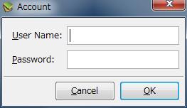 図12 「User Name」と「Password」を入力して「OK」ボタンをクリックする