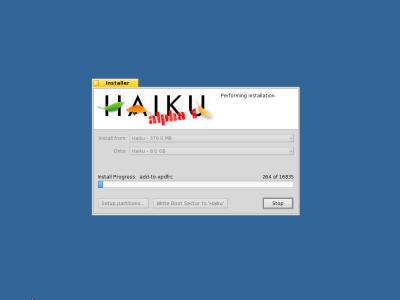 図2 Haikuのインストール画面