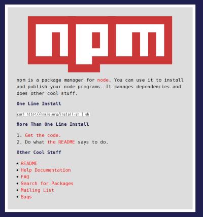 図4 Node.jsの配布パッケージにはパッケージマネージャ「npm」が同梱されている