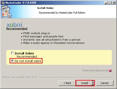 検索ツール「Xobni」のインストールがすすめられるが、「Do not install xobni」を選択して「Install」をクリック