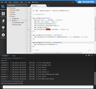 図19 Webブラウザ上で動作するCloud9 IDE