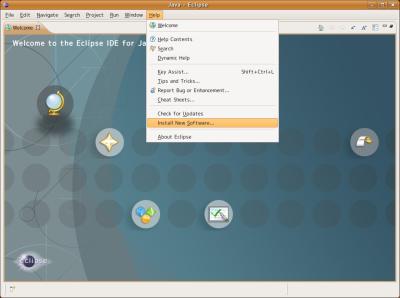 図6 Eclipseを起動し、メニューから「Help」−「Install New Software」を選択する