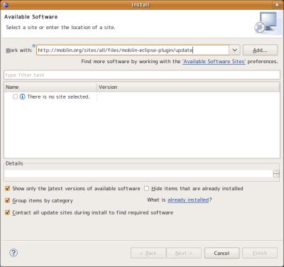 図9 「Work with」欄に「http://moblin.org/sites/all/files/moblin-eclipse-plugin/update」と入力して「Add」をクリックする