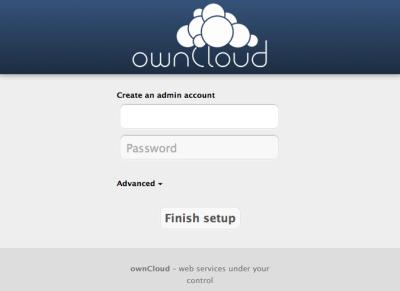 図25 「https://<ドメイン名>/owncloud/」にアクセスすると初期設定画面が表示される