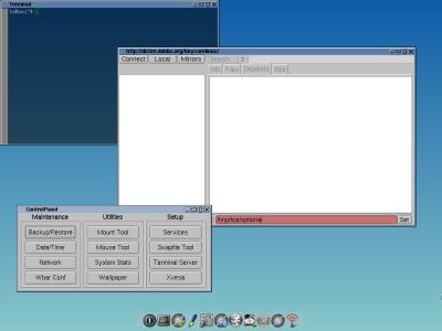 図1 Tiny Core Linuxの標準デスクトップ