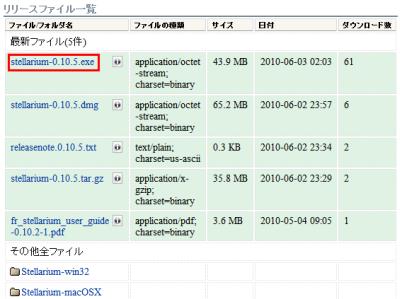図2 「最新ファイル」か「その他全ファイル」の「Stellarium-win32」から「stellarium-0.10.5.exe」のリンクをクリックして保存する