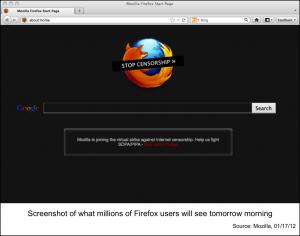 抗議のためにブラックアウトされたMozillaのWebサイト