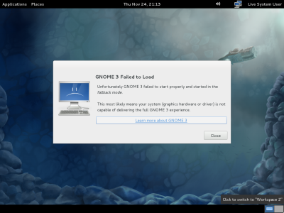 図6 GNOME Shellが利用できない環境ではこのような画面が表示される