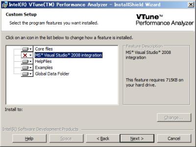 図3 インストールするコンポーネントで「MS* Visual Studio* 2008 integration」は選択しない