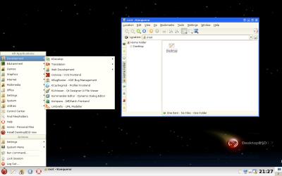 図4 ライブ版としてDesktopBSDを起動した場合のデスクトップ画面