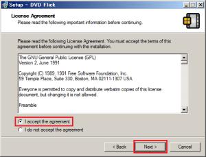 ライセンスを確認する画面では「I accept the agreement」を選択して「Next」をクリックする