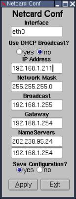 図5 cpanelで「Netcardconfig」を選択すると、ネットワーク設定ツール「Netcard Conf」が起動する