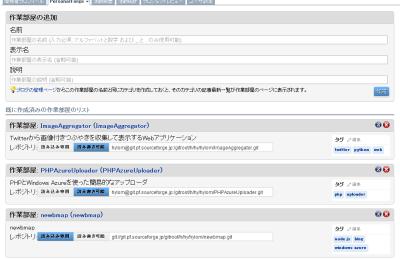 図23 PersonalForgeの「一覧/追加/削除」ページでリポジトリのURLを確認できる