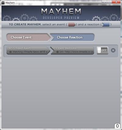 Mayhem Developer Previewの画面。捕捉するイベントとそれに対する操作を設定できる
