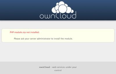 図28 ownCloudが正しく実行できない場合、エラー画面が表示される